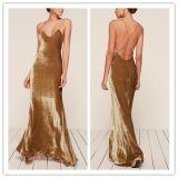 適当で柔らかい絹のビロードの背部が開いた袖なしの長いイブニング・ドレス