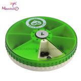 Plástico de calidad alimentaria 7 compartimentos de almacenamiento de la píldora de los casos, Portable Pildorero 10*10*2,2 cm