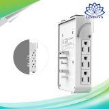 Cargador de pared 6 tomacorrientes de CA y 4 puertos USB de carga