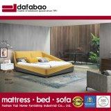 Новый стиль моды спальня мебель деревянная рама желтого цвета ткани кинг сайз