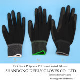 13 черноты вкладыша полиэфира датчика перчатки безопасности PU черных Coated