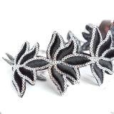 Colares grandes do Choker da indicação da flor do fio preto de prata dos Sequins da cor