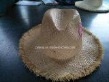 Chapéu de Panamá da palha do Raffia com Stitchwork