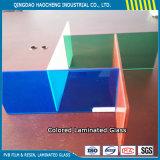 vidrio laminado decorativo de 6.38m m con precio de la película del color PVB de 0.38m m