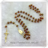 Red Glass Golden Edge Beads Rosary, perles religieuses, Rosaires (IO-cr388)