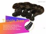 Pelo humano negro del color el 100% de la Virgen del pelo del cortocircuito brasileño derecho