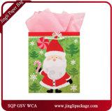 Os sacos de papel do presente Handmade do Natal dirigem da fábrica, dos sacos do presente do Natal com Glitter e dos selos da folha