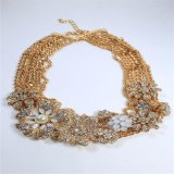 Nuevo elemento acrílico conjunto piedras pulsera del collar de la flor de la manera de la joyería del pendiente