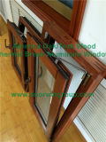 Los Estados Unidos de aluminio revestido de madera de roble triple acristalamiento de inclinación de vidrio templado y gire a la ventana, ventana de Casement Inicio Estética