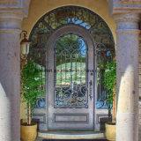 Portão de entrada de cobre aberto de cobre comercial Porta de segurança de metal