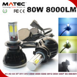 LED Headlight Bulb COB para carro Spot Beam LED Light 60W 6000lm H4 H7 LED Light para todo o automóvel