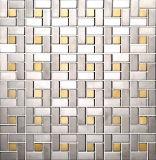 ブラシをかけられた銀および金組合せの金属のモザイク(J855001)