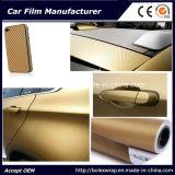 De gouden 3D VinylFilm van de Vezel van de Koolstof - met Sticker van het Voertuig van de Film van de Auto van de Bellen van de Lucht de Vrije