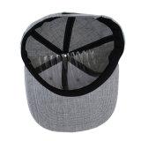 Chapeaux promotionnels faits sur commande bon marché gris de Snapback avec le logo plat de broderie