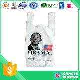 El bolso de tienda de comestibles plástico de la fábrica con usted posee insignia