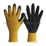 желтые перчатки 10g связанные Tc при черная покрынная ладонь латекса Crinkle