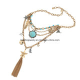 Tassel da corrente da colar da forma e pendente Chain Multi-Layer elegantes da estrela para mulheres