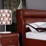 현대 작풍 빨간색 가죽 침대 가구 Fb3080