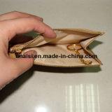 Raccoglitore della moneta della borsa delle donne della chiusura lampo del cuoio genuino con l'anello chiave