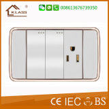 PC blanc double socket 3pole interrupteur mural