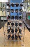 Preiswerter Chrom-Metallwhisky-Wein-Bildschirmanzeige-Zahnstangen-Regal-Hersteller des Preis-DIY