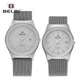 Belbiミラノのステンレス鋼のカップルの水晶腕時計