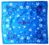 中国の工場農産物はロゴ双方を印刷した綿のHeadwearの青いバンダナをカスタマイズした