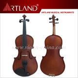 Ébano superior de la venta que ajusta el violín Matt Brown oscuro (GV104H) del estudiante sólida de madera