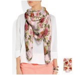 Rose-Muster-Silk Schal für Frauen