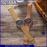 Das senhoras feitas sob encomenda da cinta de couro da forma relógio de pulso ocasional (WY-P17016B)