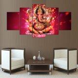 Cuadro de dios de Olifant Hoofd de la lona de pintura de Stuks la India Tibetaanse Ganesha del cartel de Woon Kamer del arte de la pared de la lona de la impresión 5PCS de HD