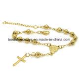 Acero inoxidable oro Mujer Rosario Ball Chain Bracelet