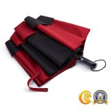 黒くおよび赤いカラー二重層のゴルフ傘、長くかまっすぐな傘
