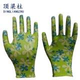 Gants de jardin de nitriles colorés par nylon de la fleur des femmes avec du ce