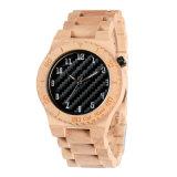 Natural de la marca personalizada de los hombres de moda Relojes de madera de arce movimiento japonés