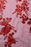 女性ののためのDressingビードが付いている刺繍のレースファブリック