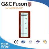 木カラーフレームの緩和されたガラスのアルミニウム浴室の振動ドア