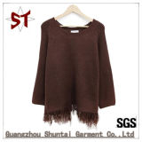 2018 New Fashion Pure Color Round Neck Sweater, Hem with Tassels,