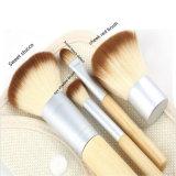 4PC PRO cepillo de mango de bambú de la Fundación Eyeshadow Kit de maquillaje maquillaje Juego de herramientas de pinceles con tela Bolso Organizador