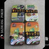 Cartões de jogo na caixa colorida do ferro