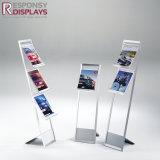 Plateau acrylique et en aluminium de crémaillère d'étalage de tourillon de magasin d'étage pour le papier de nouvelles