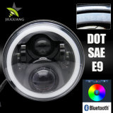 도매 지프 논쟁자 RGB 천사는 Bluetooth 전화 통제 7inch 둥근 달무리 LED 헤드라이트를 주목한다