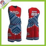 negro y rojo de encargo de Jersey del baloncesto de la sublimación de la manera 100%Polyester