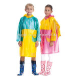 Langer Regenmantel des doppelten Farben-Kindes mit Shoolbag Deckel