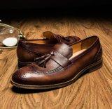 Cuero suave gamuza azul Tassel Loafer plana de los hombres Zapatos de Vestir