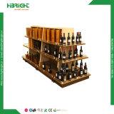 Cremalheira de madeira da prateleira do carrinho de indicador do frasco de vinho do metal da loja de licor do vinho da loja de varejo