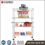 Mobile 4 Shelf Household Storage Room Adjustable Chromium plates Metal Wire Rack one Wheels