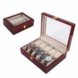 Nuevo lujo 10 cuadrículas de madera roja sólida caja de reloj