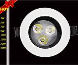 Haute qualité 3W/5 W/7W/9W/12W/15W/20W/30W Anti-reflets Downlight LED à courant constant de la conduite de l'IC et ignifuge