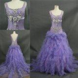 Schweres bördelndes Kristallstein-hellpurpurnes langes Abend-Kleid